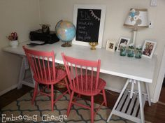 Beautiful makeover - and I want this craft room from staceyembracingchange.com #craftroom #makeover