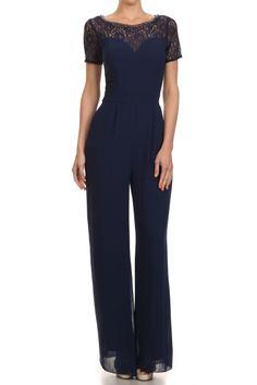 Navy Short Sleeve Full Length Wide Leg Jumpsuit