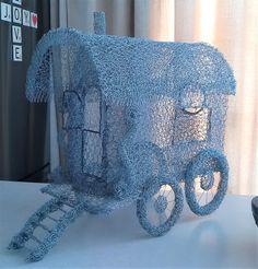 Chicken Wire Sculpture, Gypsy Wagon, Blanket, Pattern, Design, Art, Art Background, Patterns, Kunst