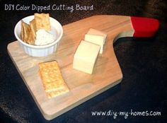 DIY Color Dipped Cutting Board made with Plasti Dip!