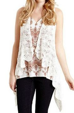 Love Love LOVE this delicately crocheted  cascading vest! Perfect final touch to any Summer look