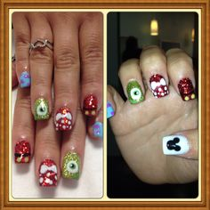 Monsters, inc. and Disney meet on these nails! So much fun to do! :)