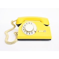 Vintage yellow rotary phone ($19) ❤ liked on Polyvore