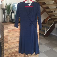 CHICOS TRAVELERS WRAP DRESS Dry cleaned. Gorgeous dark blue wrap dress. Worn once. Chico's Dresses