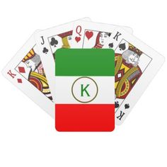 #initial - #Classy Italy Flag Design with custom Monogram Playing Cards
