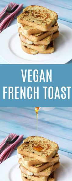 Quick and easy vegan french toast recipe. Crispy on the outside, soft on the inside, makes a perfect breakfast served as is or with a little maple syrup. Vegan | Vegan Breakfast | Vegan Food | lovingitvegan.com