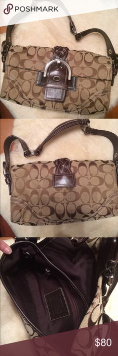 Coach Canvas & Leather Shoulder Bag Authentic, Excellent condition, only carried a few times. Clean inside, hardware free of scratches. Coach Bags Shoulder Bags