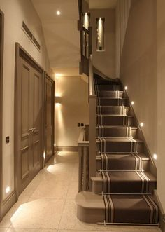 Staircase Lighting Ideas Tips And Products John Cullen Lighting for Brilliant modern staircase lighting - Home Interior Design Staircase Lighting Ideas, Stairway Lighting, Modern Staircase, Strip Lighting, Home Lighting Design, Entryway Lighting, Modern Entryway, Entryway Ideas, Ceiling Lighting
