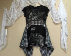 Upcycled Gypsy Boho Chic Patchwork nero farfalla abitino, vestito t-shirt Upcycled, Nero Plaid flanella Shabby Chic tunica abito
