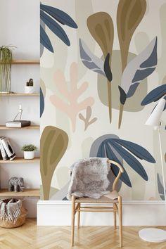 Diy Wall Art, Diy Wall Decor, Room Decor, Room Wall Painting, Room Paint, Paredes Chevron, Bedroom Colour Schemes Neutral, Modern Wallpaper Designs, Kids Room Murals