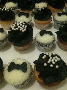 Tuxedo and pearls cupcakes