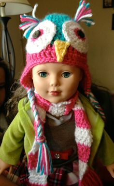 owl hat and striped scarf for an 18 inch doll, pattern for striped scarf