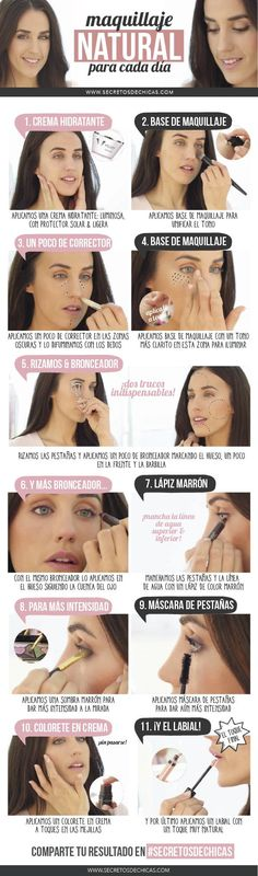 maquillaje natural paso a paso mejores equipos Beauty Make Up, Hair Beauty, Beauty Secrets, Beauty Hacks, Party Make-up, Party Games, Natural Make Up, Tips Belleza, Diy Makeup