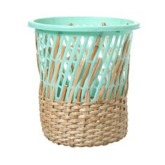 hand-woven + natural wickerwork + colorful plastic = amazing bin