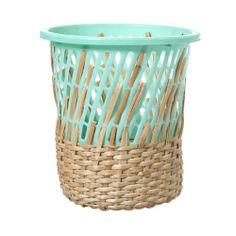 hand-woven + natural wickerwork + colorful plastic = amazing bin