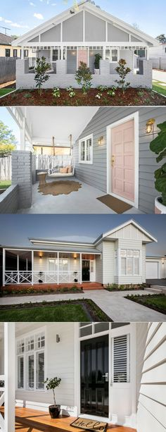 Discover how to get a Hamptons exterior with the right cladding! Die Hamptons, Hamptons Style Homes, Weatherboard Exterior, Exterior Cladding, House Paint Exterior, Exterior House Colors, Style At Home, House Cladding, Street House