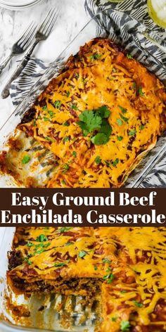 Layers of beef, corn tortillas, cheese, & enchilada sauce make this Beef Enchilada Casserole a great dinner! It's like beef enchiladas w/out all the work! Sauce Enchilada, Easy Enchilada Casserole, Easy Beef Enchiladas, Ground Beef Enchiladas, Enchilada Recipes, Casserole Dishes, Beef Casserole, Ground Beef Recipes For Dinner, Easy Recipes For Dinner