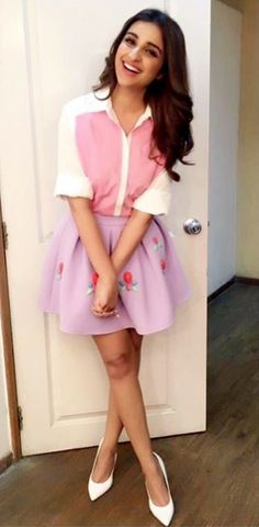 Parineeti Chopra wearing Pink white top by Zara and lavender skirt by ASOS Flared Mini Skirt, Mini Skirts, Bollywood Fashion, Bollywood Actress, Indian Fashion, Korean Fashion, Kpop Fashion Outfits, Womens Fashion, Parineeti Chopra