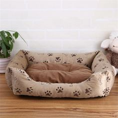 ALUS- Four Seasons General Non-apart and wash pet bed dog kennel cat house pet supplies (brown -M) * Special dog product just for you. See it now! : Dog house