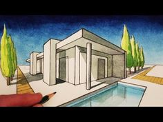 How to Draw a House in Two Point Perspective: Modern House - YouTube