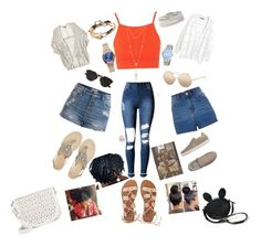 """""""Multi-Outfit for July 4th/BBQ Pt. 2✨"""" by angeliqueamor on Polyvore featuring Topshop, Pieces, Violeta by Mango, Nixon, Anne Klein, Stella & Dot, Lizzy James, House of Harlow 1960, Ash and Billabong"""