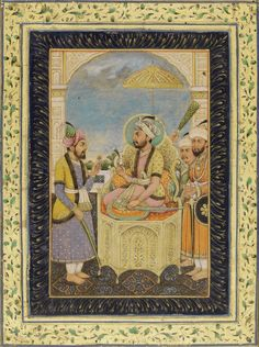 An enthroned Mughal Emperor, probably Shah Jahan, with a calligraphic page verso