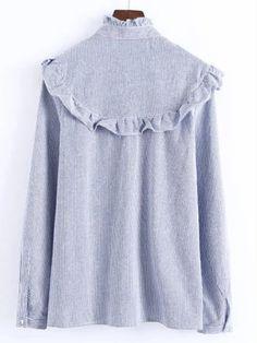 Blue Vertical Striped Flower Embroidered Ruffle Shirt