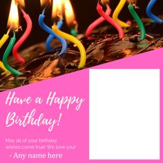 happy birthday card with name and photo editor Birthday Card With Photo, Birthday Photo Frame, Happy Birthday Photos, Happy Birthday Balloons, Happy Birthday Messages, Birthday Frames, Card Birthday, Advance Happy Birthday Wishes, Birthday Wishes Greeting Cards