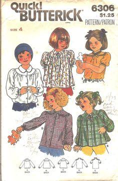 Vintage Sewing Pattern Blouse Girls 1970s Style by TenderLane, $8.00