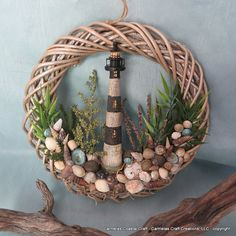 Light House sea shell wreath by CarmelasCoastalCraft on Etsy