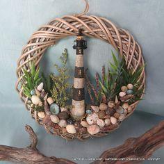 Light House sea shell wreath by CarmelasCoastalCraft on Etsy, $35.00