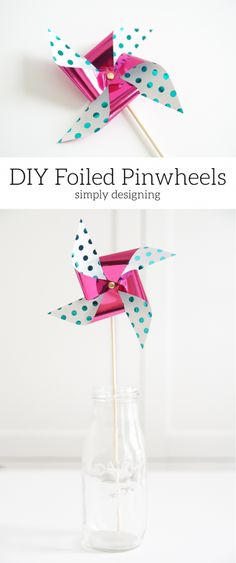 These DIY Foiled Pinwheels are so crazy cute and so simple to make. Even your kids can create them! They are a really fun summer project and decor. AD #HSMinc #FoilAllTheThings