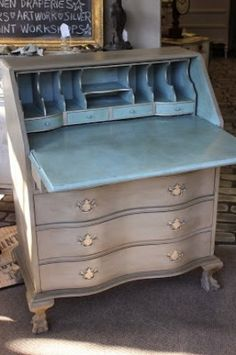 Updating a desk with Chalk Paint- I like the idea of doing a brighter color inside the desk and drawers!