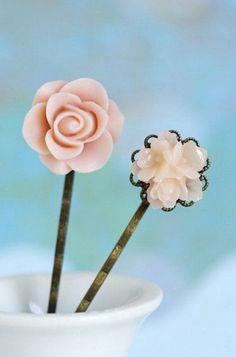 Peach Flower Hair Pins Bobby Pins