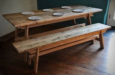Dining Table & Bench Reclaimed Wood Farmhouse Rustic Reclaimed Scaffold and Oak wood Dining Set Bespoke Reclaimed Rustic Furniture hand made