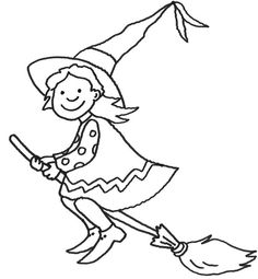 Coloring page Halloween: Witch on her broom print for free - Ausmalbilder - Halloween Art, Baby Halloween, Windows Color, Mandalas For Kids, Halloween Coloring Pages, Happy Paintings, Drawing For Kids, Coloring Books, Art Drawings