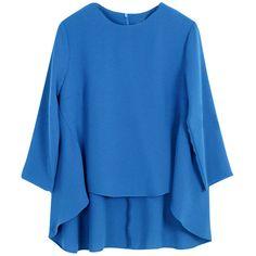 Womens Plus Size Plain High-low 3/4 Length Sleeve Blouse Blue (32 CAD) ❤ liked on Polyvore featuring tops, blouses, blue, plus size blue blouse, blue top, 3/4 sleeve tops, three quarter sleeve tops and blue blouse
