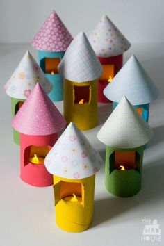 Light up cardboard tube houses. Make a village full of cardboard tube houses with this fun kids craft from toilet rolls