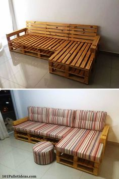 Pallet L-shape couch frame - 20 pallet ideas that you can use for your home . Pallet L-shape couch frame – 20 pallet ideas that you can build yourself for your home 99 pallets more –