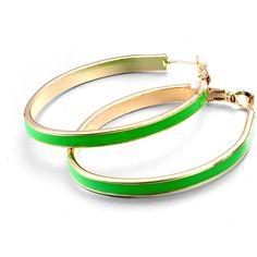 Cutesy Neon Green Earrings (€2,24) ❤ liked on Polyvore featuring jewelry, earrings, hinged earrings, nickel free jewelry, hoop earrings, earring jewelry and lock jewelry