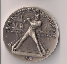Silver Medal Commemorating the Golden Spike Ceremony & The Trans Continental Railroad Obverse Golden Spike, History, Conference Room, Google Search, Glass, Silver, Historia, Drinkware, Corning Glass