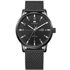 Relógio masculino Tommy Hilfiger com pulseira em aço preto. 1710328
