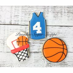 Basketball hoop jersey sports decorated cookies by Paradise a Sugar Shoppe  (Hoop tutorial by Sweet Sugarbelle)