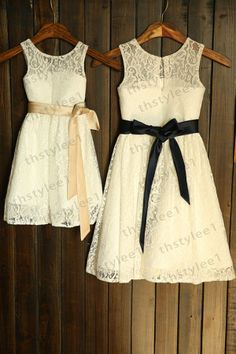 Lace Flower Girl Dress with Champagne/Navy Blue Sash by thstylee1