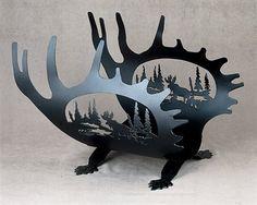 Meyda Tiffany Custom Moose Antler Firewood Rack Wood Basket