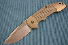 David Mosier Custom Crossfire, Bronze Anodized Frame-Lock Flipper