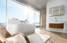 bad design ohne wandfliesen glaswand panoramafenster badewanne
