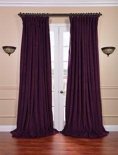 Signature Eggplant Double Wide Velvet Blackout Pole Pocket Curtains And Drapes