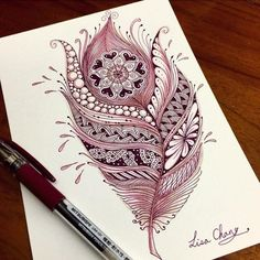 Zentangle feather artwork More Mehr Feather Drawing, Feather Art, Feather Tattoos, Feather Painting, Mandalas Painting, Mandalas Drawing, Mandala Feather, Mandala Art, Doodles Zentangles