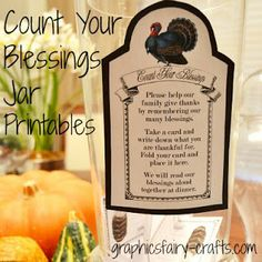 The Graphics Fairy - Crafts: Count Your Blessings Jar for Thanksgiving - Printable